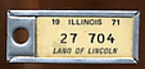 Key Chain: Vintage Miniature License Plate 1971
