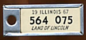 Key Chain: Vintage Disabled Miniature License Plate (Image1)