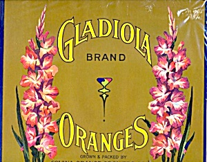 Gladiola Orange Crate Label