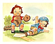 Vintage Campbell Kids Playing Baseball Print
