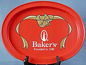 Baker's Chocolate Oval Metal Tray