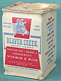 Vintage Old Beaver Creek Dairy Milk Carton