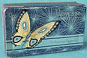 Art Nouveau Yellow Butterfly Candy Tin