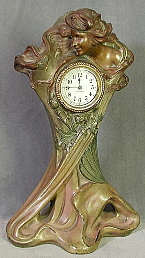 Art Nouveau Clock/Figure of a Lady, Butterfly/Flowers (Image1)