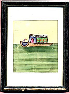 Vintage Painting Of Boat On Rice Paper