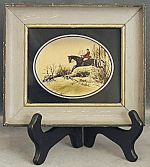 Vintage Hunting Scene Reverse Painted On Glass