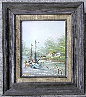 Oil Painting: Framed Signed, Sailboats