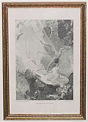 "Antique Print ""the Birth Of A Pearl"""