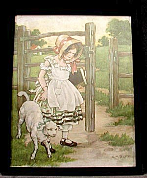 Vintage Framed Illustration: Mary Had A Little Lamb