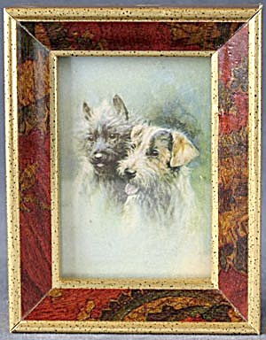 Small Easel Back Framed Print Of Terriers
