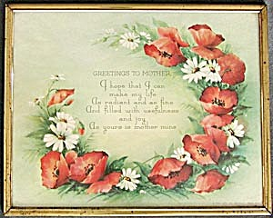 Vintage Greetings To Mother Poppy Picture (Image1)