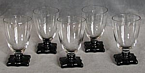 Vintage Art Deco Clear Glasses With Black Stems & Bases