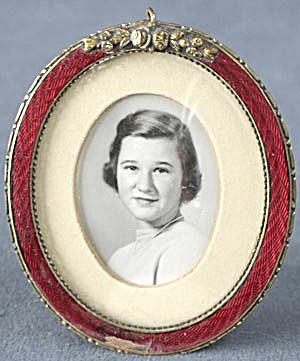 Vintage Oval Dark Red Enamel Frame