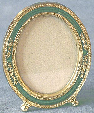Oval Emerald Green Enamel Frame