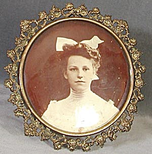 Victorian Metal Picture Frame With Young Lady