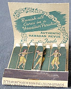 Vintage Waikiki Matchbook With Dancers