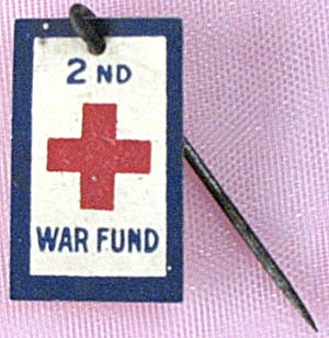 Vintage Tin 2nd War Fund Red Cross Celluloid Stick Pin
