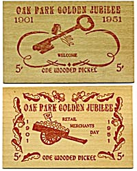 Wooden Nickel Oak Park Golden Jubilee 1951 Pair (Image1)