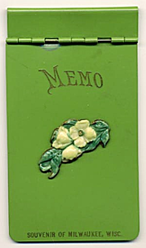 Vintage Green Plastic Memo Souvenir Of Milwaukee
