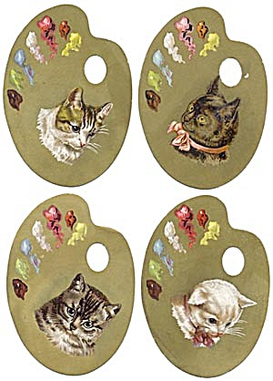 Victorian Trade Card Set Artist Pallet Shape With Cat