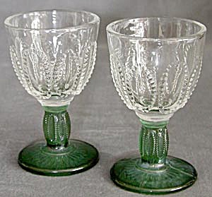 Vintage Clear Glass with Dark Green Stem Glasses (Image1)