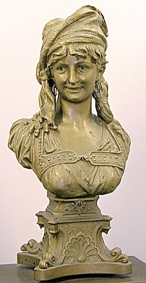 Art Nouveau Metal Bust by Henry Weisse of a Woman (Image1)