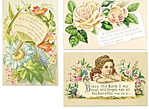Vintage Bible Cards with Child & Flowers Set of 3 (Image1)