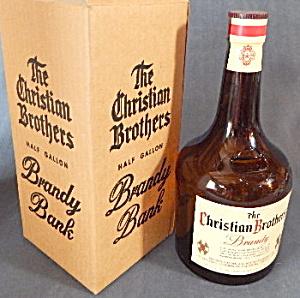 Vintage Large Christian Brothers Glass Bottle Bank (Image1)