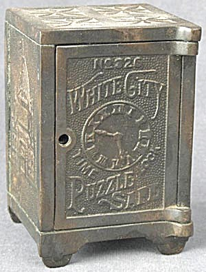 Vintage White City Puzzle Safe Cast Iron Safe Bank (Image1)