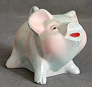 Vintage Blue Metal Piggy Bank (Image1)