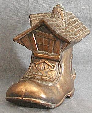 Vintage Copper Shoe House Metal Bank (Image1)