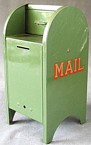 Vintage Green Metal Mail Box Bank (Image1)