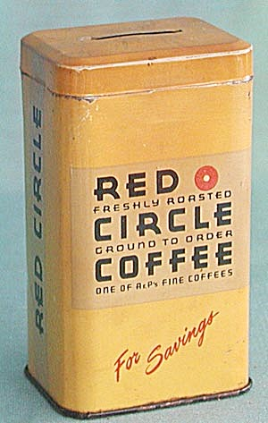 Red Circle Coffee Tin Bank (Image1)