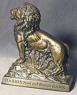 Vintage Metal Harris Lion Bank (Image1)