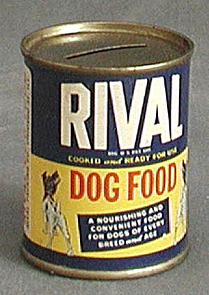 Vintage Blue Rival Dog Food Tin Advertising Bank (Image1)