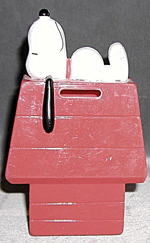 Vintage Red Plastic Snoopy Bank (Image1)
