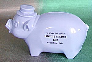 Vintage Blue Plastic Piggy Bank