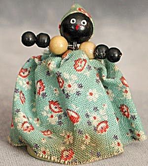 Vintage Wooden Beaded Black Doll
