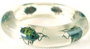 Vintage Clear Lucite Beetle Bangle Bracelet (Image1)