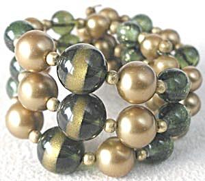 Vintage Green & Gold Memory Bracelet (Image1)