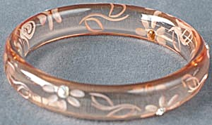 Lucite Etched Flower Rhinestone Bangle (Image1)