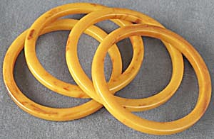 Vintage Orangy Bakelite Bangle Bracelet  Set of 4 (Image1)