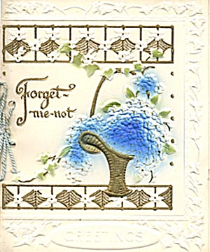 Vintage Embossed Forget me not Birthday Card (Image1)