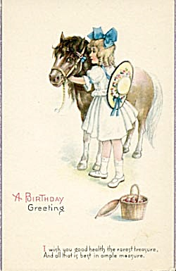 Vintage: Birthday Card Girl With Pony