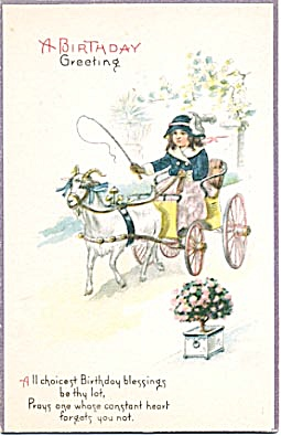 Vintage: Birthday Card Girl With Goat