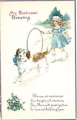 Vintage: Birthday Card Girl With Large Dog