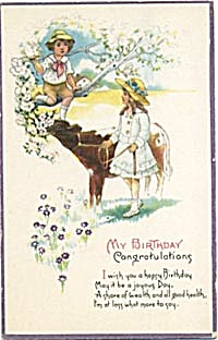 Vintage: Birthday Card Girl & Boy with Calf (Image1)