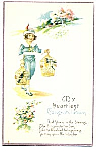 Vintage: Birthday Card Boy with Bluebirds in Cages (Image1)