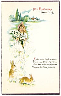 Vintage: Birthday Card Girl with Bunnies (Image1)