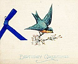 Vintage Birthday Card Bluebird (Image1)